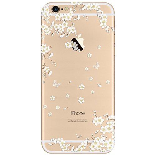 iPhone 6 / iPhone 6S Hülle , Yokata PC Hart Case mit Weich Pink Silikon Bumper Weiß Blumen Motif Schale Transparent Durchsichtig Dünn Case Schutzhülle Protective Cover