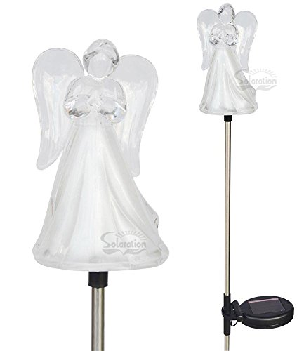 (Solar Wholesale 1053-2 A Set of Two Frosty Praying Angels Solar Garden Stake LED Lights)