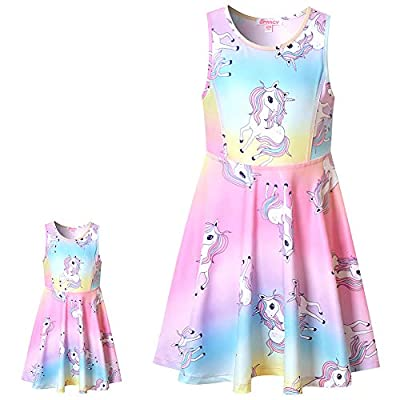 Matching Girls & Doll Dresses Sleeveless Unicorn Outfits Clothes Fits 18