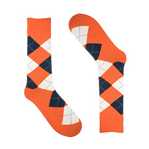Ivory + Mason Argyle Socks for Men - Dress Sock - Colorful - Orange Color - Cotton - Size 8-13 (One Pair)