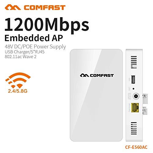 News COMFAST 1200Mbs Wall Embedded AP Router 2.4G 5.8G Dual Band Wireless WiFi Wave2 Access Point USB Charger +5 RJ45 Port CF-E560AC