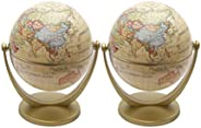 Garneck 2pcs Geographic World Globe Interactive Desktop Earth Globes with Stand Vintage World Globe Decoration