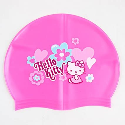 681240dfc Amazon.com : Hello Kitty Pink Kid Silicone Swim Cap Flower for Kids Under  Age 10 : Sports & Outdoors