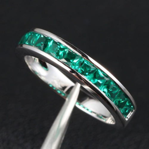 Princess Emerald Wedding Band Half Eternity Anniversary Ring 14K White Gold Channel-Set by the Lord of Gem Rings