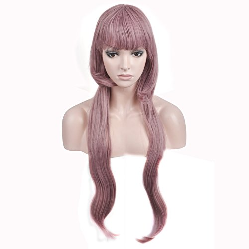 (DAOTS Long Wavy Anime Cosplay Costume Wig for Women Girls Synthetic Fiber Bob Wigs with Bangs)
