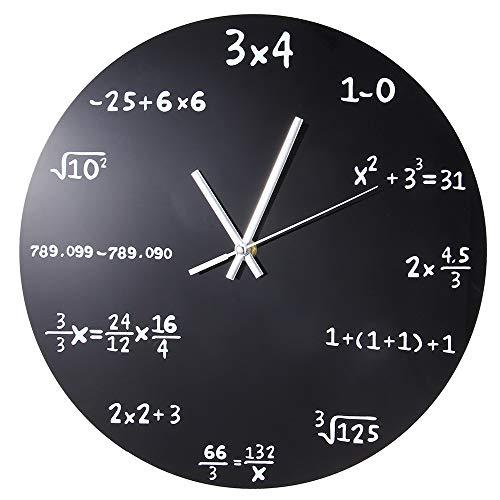 llsmting Creative Wall Clock Modern Design 30 cm Size Diameter Matte Black Powder Coated Metal Plastic Material Circular Shape Weight Blackboard Pop Quiz Clock Applicable Living ()