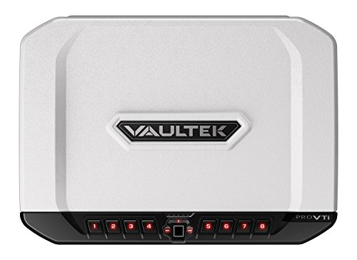 Vaultek VTi Full-Size Biometric Handgun Bluetooth Smart Safe Multiple Pistol Safe with Auto-Open Lid and Rechargeable Battery (Alpine White)