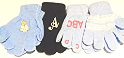 Four Pairs Magic Gloves for Infants Toddlers Ages 1-4 Years One Monogram