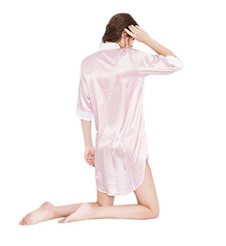 righe notte Accappatoio di Tessuto seta morbido da Imitazione notte Camicia liscio Rosa donna DAFREW da e a sexy Camicia da Pigiama Confortevole Camicia Estate ZqtT6wP