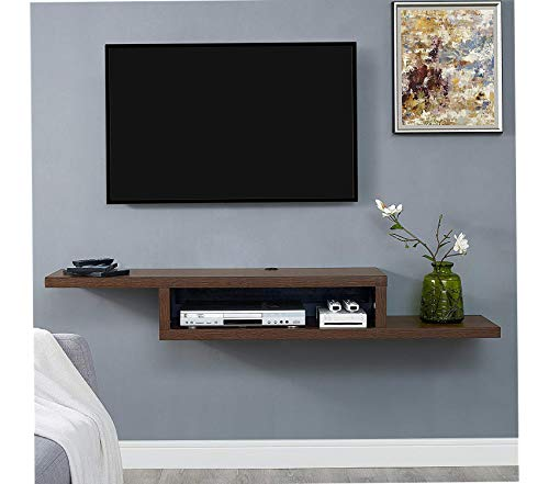 (Wood & Style Asymmetrical Floating Wall Mounted TV Console 60inch Columbian Walnut Decor Comfy Living Furniture Deluxe Premium Collection )