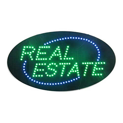 Real Estate Led - LED Real Estate Open Light Sign Super Bright Electric Advertising Display Board for Broker Realtor Properties Business Shop Store Window Home Bedroom Decor 27 x 15 inches