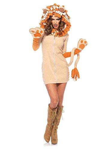 Women's Cozy Lion Costumes (Cozy Lion Fleece Costume Bundle with Pink Shorts)