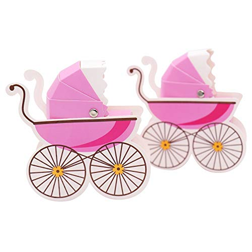 30 Pcs Stroller Baby Shower Candy Box Chocolate Candy Box Party Table Decor(Pink)