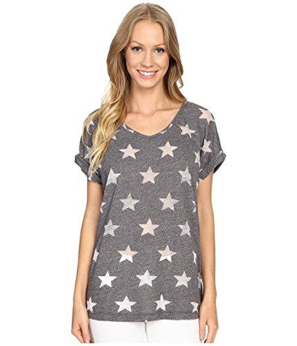 Allen Allen Women's Allover Star Short Sleeve Tee Jet Grey T-Shirt XL (Women's (Allen Allen Short Sleeve T-shirt)