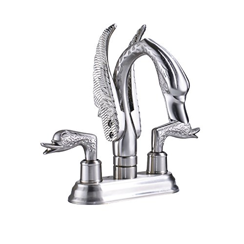 Rozin 4-inch Centerset Swan Shape Bathroom Sink Faucet Two Handles Vessel Basin Mixing Tap Brushed Nickel
