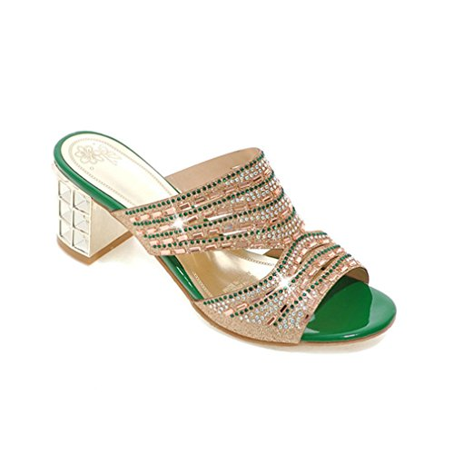 Lumino Toe hauts Open pantoufles diapositives femmes talons Green pantoufles Femmes strass pHqIrxp