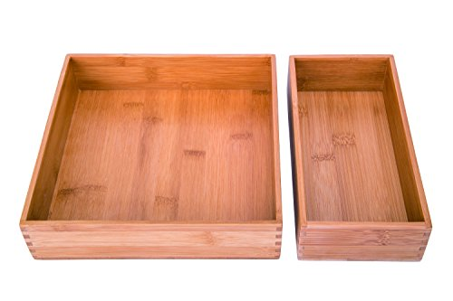- Sansnow Bamboo Drawer Organizer Boxes Set for Home Office 2 PCS
