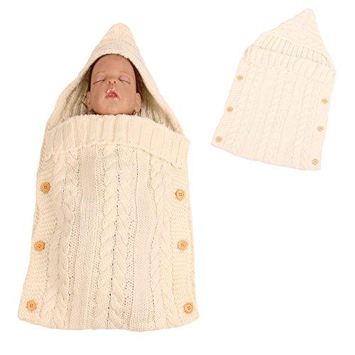 Unisex Newborn Infant Baby Wool Knit Swaddle Sack Stroller Hoodie Wrap Sleeping Bag White One Size