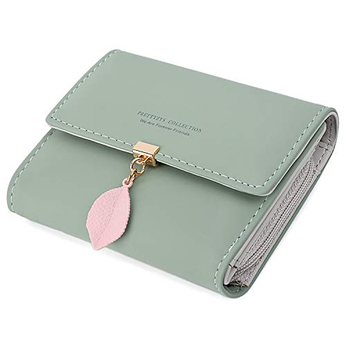 (UTO Small Wallet for Women PU Leather Leaf Pendant Card Holder Organizer Zipper Coin Purse A Green)
