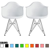 2xhome - Set of Two (2) - White - Plastic Armchair with Eiffel Legs Dining Chair Eames Style Molded Plastic Wire Chair Base