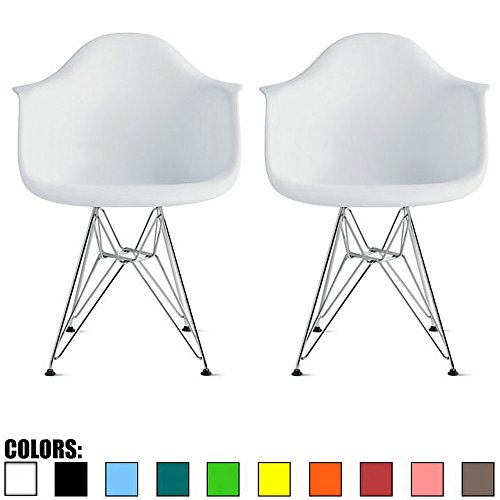 2xhome Set of 2 White Mid Century Modern Vintage Designer Molded Shell Plastic Armchair with Arms Back Chrome Wire Metal Base Eiffel Dining Chairs Living Room Accent Dowel Office Guest Work Desk DAR