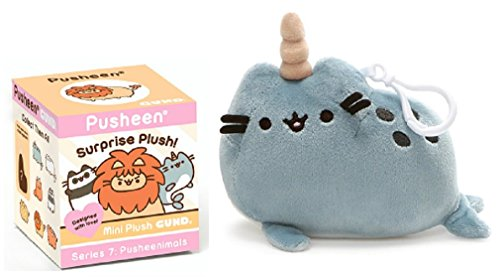 GUND Pusheenimals Blind Box Series 7 bundle with Pusheen Narwahl Backpack Clip by GUND