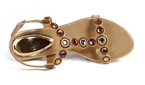 PU Women Heel Round Sandals Rhinestones Party Honeystore Leather Low Shoes Gold n71tRqxxwY