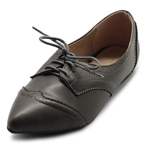 - Ollio Women's Ballet Shoe Flat Enamel Pointed Toe Oxford M1818 (8.5 B(M) US, Grey)