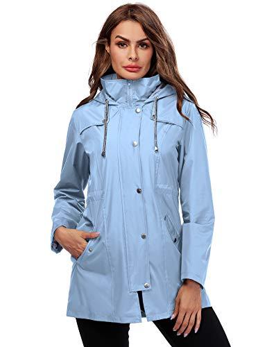 Doreyi Lightweight Rain Jacket Women Belted Spring Coat Light Blue M
