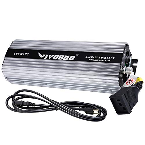 VIVOSUN Horticulture 600 watt Dimmable Digital Electronic Ballast for Hydroponic HPS MH Grow Light, UL Listed & Soft Start Protection (Space Gray) ()