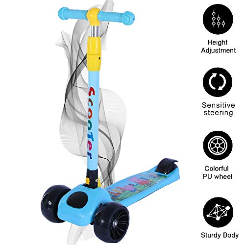 Smart Saver Scooter for Kids – The Smart Kick Scooter for Kids/Baby with Adjustable Height, Foldable LED PU Wheels – Blue Price & Reviews