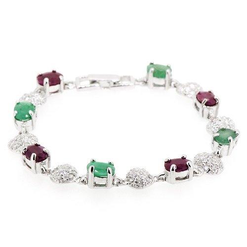 Beautiful-Rare-Natural-Ruby-Emerald-Turtle-CZ-Pave-75-Bracelet-925-Silver
