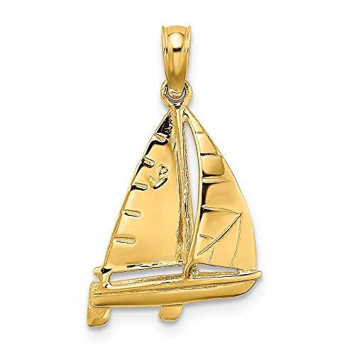 14k Yellow Gold 3-D Polished SAILBOAT Charm