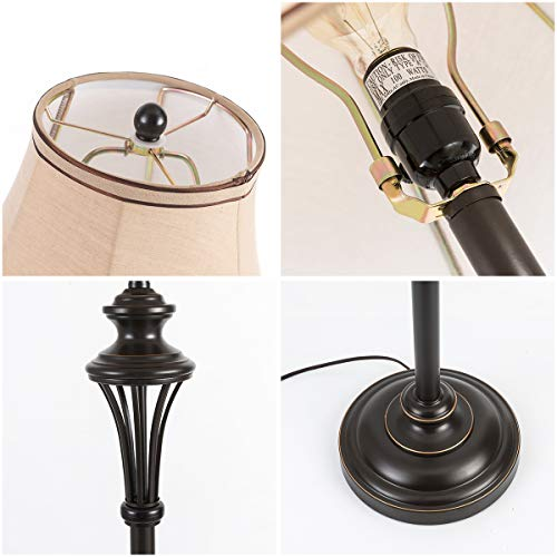 3 Pack Lamp Set (2 Table Lamps, 1 Floor Lamp), 3-Piece Vintage Style Table and Floor Lamp Set in Bronze Finish with Brown Fabric Lamp Shades, 26'' and 61''(H), Solid Iron by Smeike (Image #2)