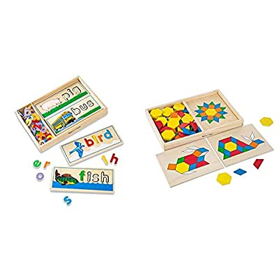 Melissa & Doug See & Spell Learning Toy (Best for 4, 5, and 6 Year Olds) & Pattern Blocks and Boards Classic Toy (Developmental Toy, Wooden Shape Blocks, Best for 3, 4, 5, and 6 Year Olds): Toys & Games