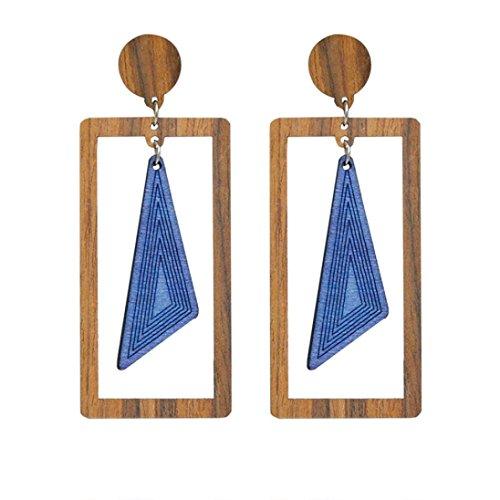 Pattern Tanzanite Ring - Fashion Earrings, Paymenow Women Girls Wood Geometric Patterns Handmade Stud Earrings Wedding Party Elegant Drop Earrings (E)
