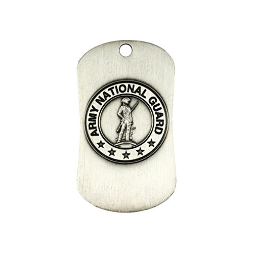Shields of Strength National Guard Antique Finish Dog Tag Necklace-Joshua ()