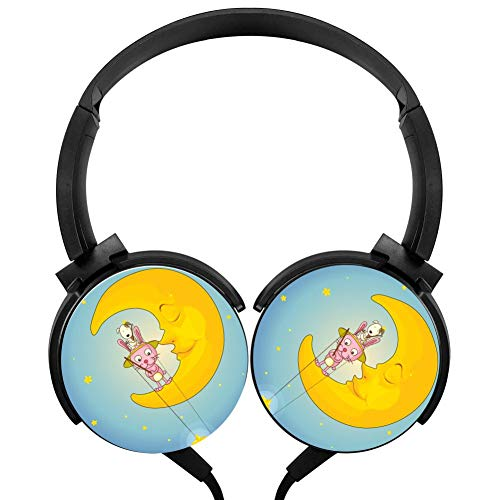 Moon Cat Headphones 3D Printed Over-Ear Lightweight Headphone for Kids Men Woman
