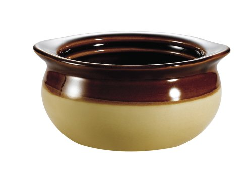 CAC China - Sopa de cebolla redonda, Crema/marrón, 5 by 2-3/8-Inch, 12-Ounce, 1