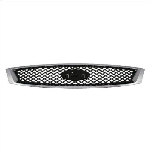 (CarPartsDepot, Front Grille Matte Black Mesh Grid Chrome Outer Frame, 400-18512 FO1200430 5S4Z8200AAA)