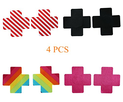 4 Pairs Women Sexy Cross Shape Disposable Pasties Nipple Cover Lingerie on Bra (Women Straitjacket)