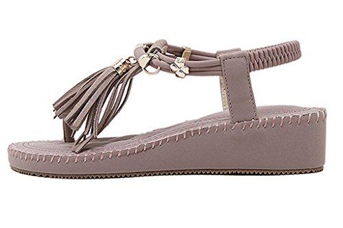 Coréen Minetom Chaussures Mode Violet Avec Des Sandales Style Sandales Muffin Nouveau Glands Femmes Été CCBqtS
