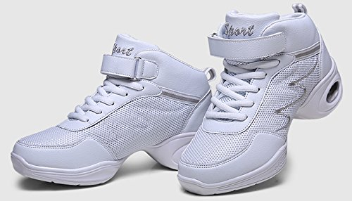 Mesh Jazz Hip Jazz High Breathable Hop Top Criss Schuhe Moderne Weiß Dance Cross VECJUNIA Dance Fitness Sneakers Erwachsene Damen FwAZ1xqR