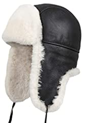 Zavelio Unisex Genuine Shearling Sheepskin Leather Aviator Russian Ushanka Trapper Winter Fur Hat  Zavelio Aviator Shearling Sheepskin Russian Hat. This Russian style sheepskin hat is made with 2-sided sheepskin (shearling sheepskin or double...