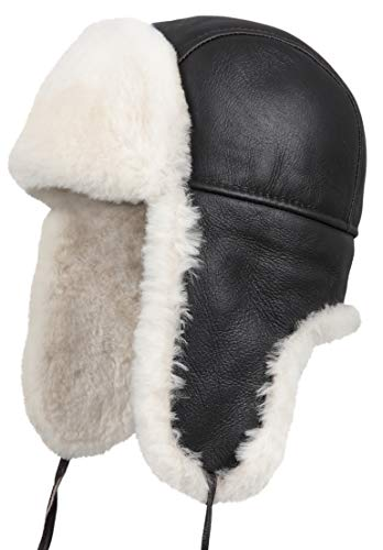 Zavelio Unisex Shearling Sheepskin Aviator Russian Bomber Hat XX-Large Brown Beige