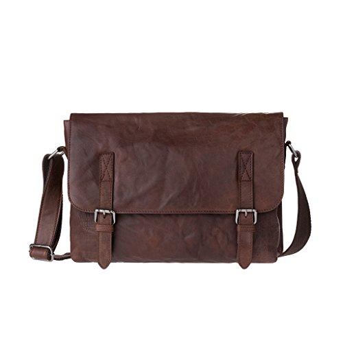 Messenger Tasche für Herren aus echtem Knitterleder in Vintage-Optik Braun