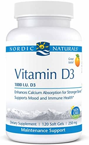 Nordic Naturals Pro Vitamin D3, 1000 IU Vitamin D3 Cholecalciferol, Helps Regulate Calcium Absorption for Stronger Bones and Supports Mood and Immune Health*, 120 Soft Gels