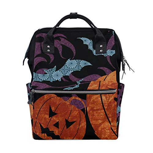 LORVIES Spooky Halloween Background Diaper Bag Backpack, Large Capacity Muti-Function Travel Backpack -
