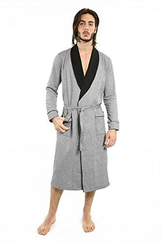 Yugo Sport Men Robes - Pajama Men Bathrobe - Mens Cotton Robe Long – Waffle Knit – Kimono Style Robe & Pajamas (XL-XXL, Black & Pin ()