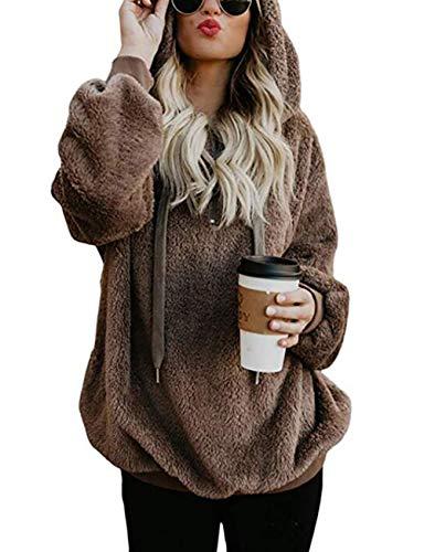 Cotton Zip Vest - PRETTYGARDEN Women's Winter Long Sleeves 1/4 Zip Double Fuzzy Fleece Coat Oversized Hooded Pullover Sweatshirt Outwear with Pockets